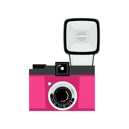 Pink and black analog film camera icon. Flat vector illustration. Front view.