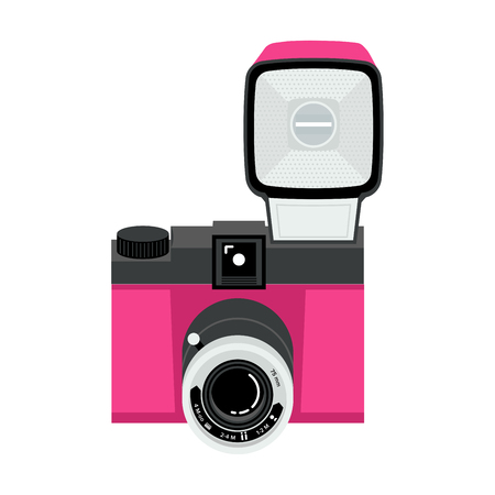 Pink and black analog plastic camera with flash. Flat vector illustration. Up view.
