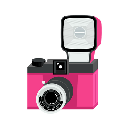 Pink and black analog film camera with big flash. Flat vector illustration. Isometric perspective.