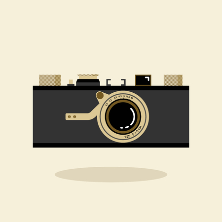 Retro camera black and gold. Flat vector illustration. Front view.