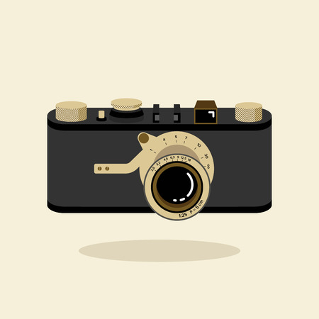 Retro camera black and gold. Flat vector illustration. Top view.