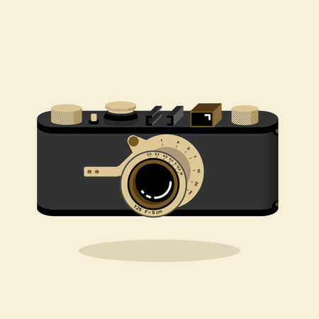 Retro camera black and gold. Flat vector illustration. Isometric perspective. Ilustrace