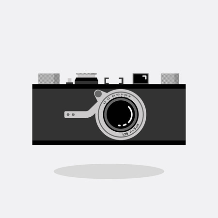 Retro camera black and silver. Flat vector illustration. Front view.