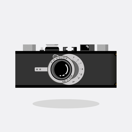 Retro camera black and silver. Flat vector illustration. Side view. Ilustração