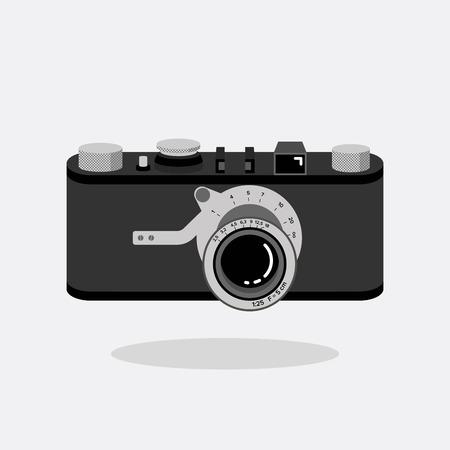 Retro camera black and silver. Flat vector illustration. Top view.