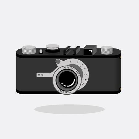 Retro camera black and silver. Flat vector illustration. Isometric perspective. Ilustração