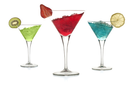 Set of alcoholic cocktails with leaning liquid