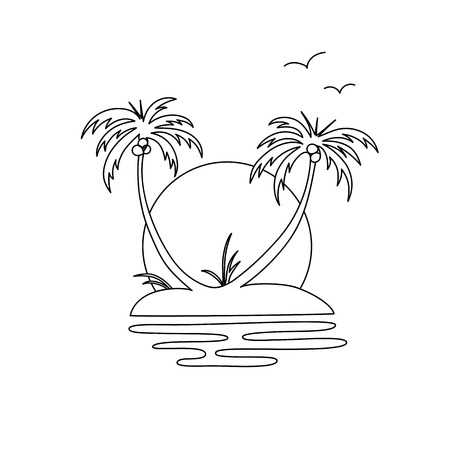 Illustration an oasis island with two palm trees, sunset and birds.