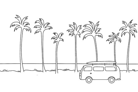 Single  illustration of an old van with a surf board in the top riding next to the beach.