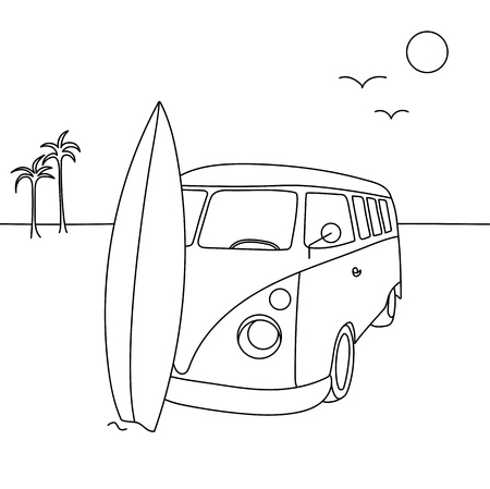 Single  illustration of an old vacation van on the beach with a surf board.
