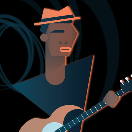 Bass character playing in a rock band. Flat vector illustration.