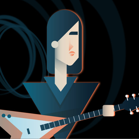 Guitarist character of a rock band. Guitar Hero. Flat vector illustration. Çizim