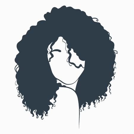 schöne Frau mit lockigem Haar. Konzept-Abbildung. Vektorgrafik