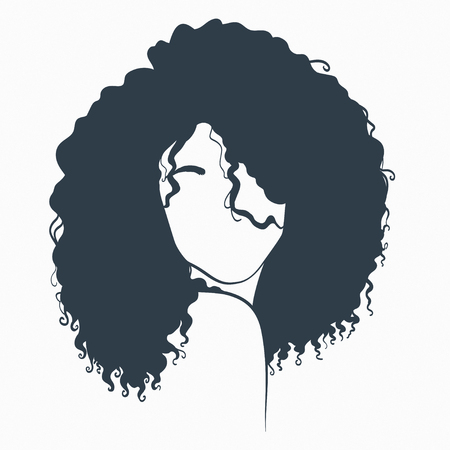 beautiful woman with curly hair. Concept illustration. Illustration
