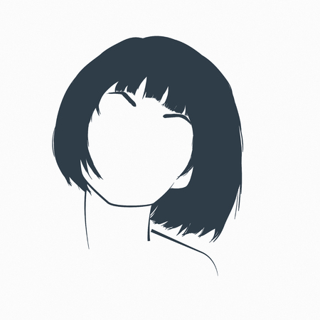 concept of a beautiful young woman. Minimalist illustration.