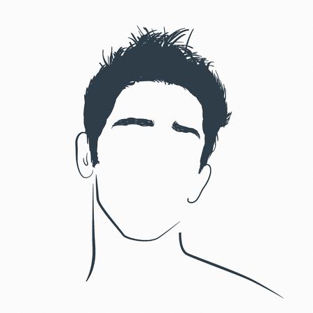 Stylish handsome man face. Minimalist concept illustration.