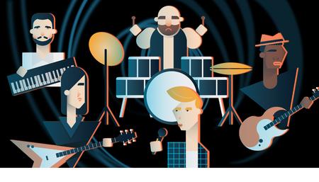 Rock Band en un concierto. Ilustración geométrica de los miembros de una banda de rock.