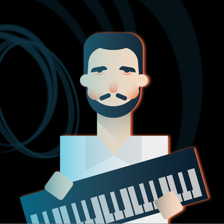 Keyboardist character of a rock band playing music. Flat vector illustration.