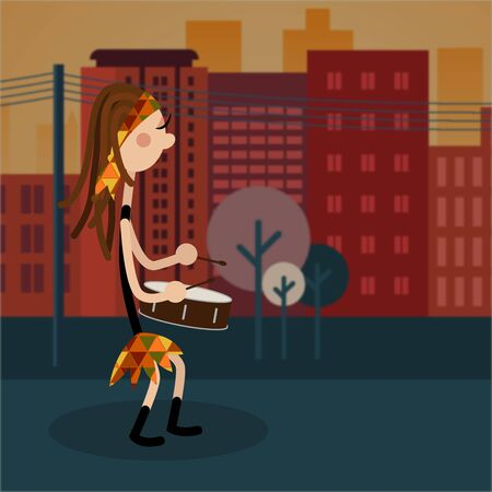 Female drums performacing drumming in the streets Imagens - 131650243