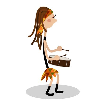 Strong and powerful woman playing drum in a drumming