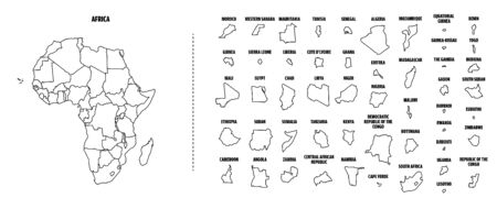 Africa outline map with each country isolated.