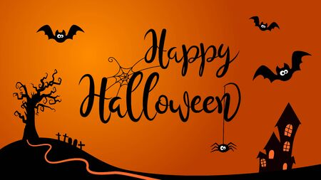 Happy Halloween creative lettering scene with cartoon style background.