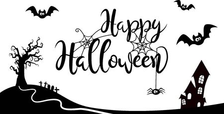 Black and white halloween lettering with bats, tree and house in cartoon style Ilustração