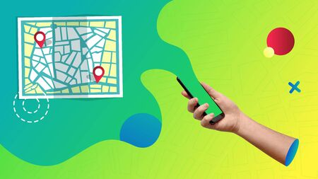 Conceptual contemporary art collage. Abstract representation of a map app coming from a smartphone.