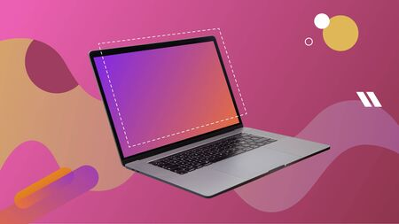 Contemporary digital art collage. Laptop open in pink background with empty screen.