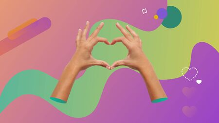 Conceptual contemporary art collage. Two female hands making a heart shape with the fingers.