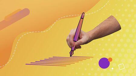 Conceptual contemporary art collage. Hand writing down holding a vector pen. Writing visual concept representation.  Imagens