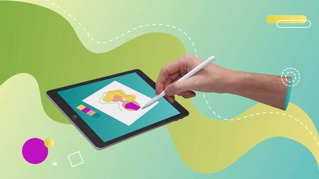 Conceptual contemporary art collage. Hand drawing in a tablet with a smart pen book.