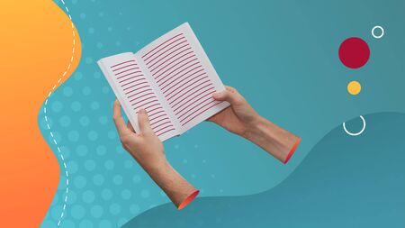 Conceptual contemporary art collage. Reading concept. Two hands holding a book with lines representing the text.