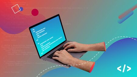 Conceptual contemporary art collage. Hands writing code in a laptop computer. Code design.  Stock Photo