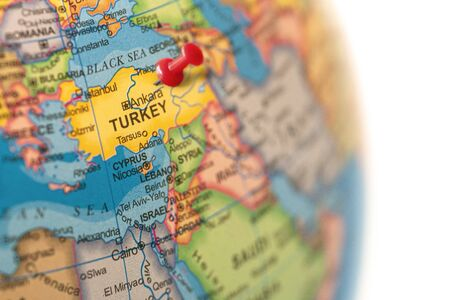 Turkey map. Earth globe close up with a red pin in Turkey.