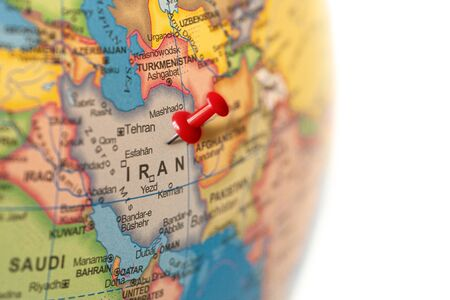 Iran map. Earth globe close up with a red pin in Iran. Imagens