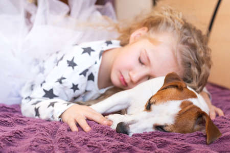 A little girl in pajamas and a dog Jack Russell sleep together. Concept of love for pets, friendship, hugs, childhood.