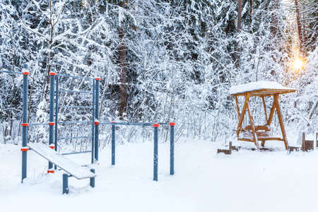 An empty sports ground in a winter park or forest against the backdrop of snow-covered trees. Healthy lifestyle.