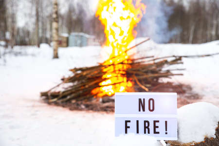 Open fire warning in the winter