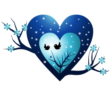 heart winter tree with birds Vector