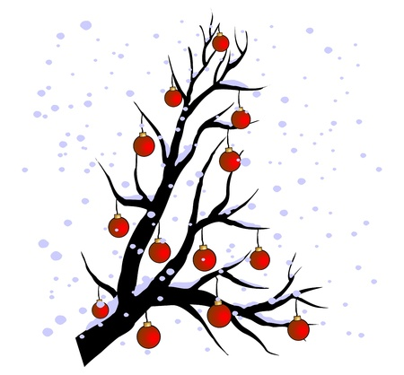 winter tree with globes and snowflake Vector