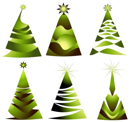 christmas eco tree set Vector