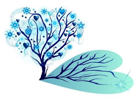 estrella de la vida: árbol de invierno con estrellas y corazones Vectores