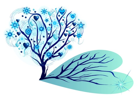 winter tree with stars and hearts Stock Vector - 11374906