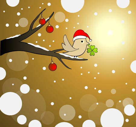winter tree lucky bird Vector