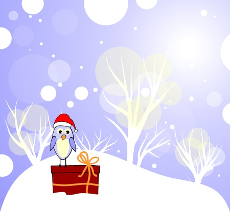 Winter card with cute bird and gift box
