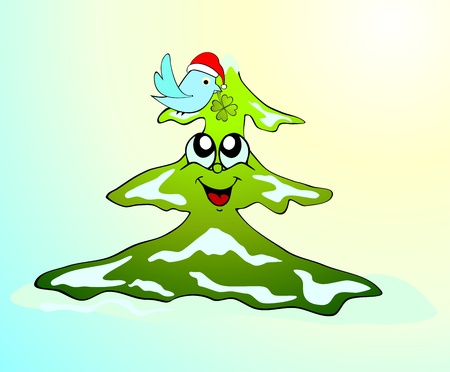 funny winter tree Vector