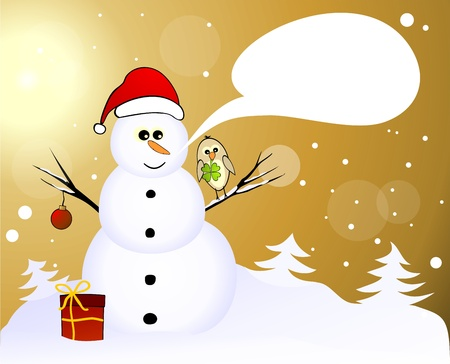 Snowman with lucky birds and gift Vector