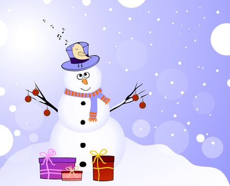 Snowman with singing bird and gifts Vector