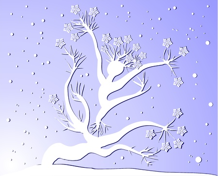 Winter tree woman silhuette Vector